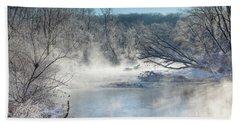Frozen Misty Morning Beach Towel