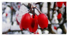 Frozen Red Berries Beach Sheet