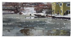 Frozen Cayuga Creek Beach Towel