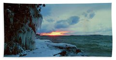 Frozen Sunset In Cape Vincent Beach Sheet