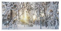 Frozen Trees Beach Sheet by Delphimages Photo Creations