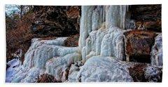 Frozen Waterfall Beach Sheet by Suzanne Stout