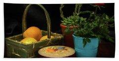 Fruit And Flowers Still Life Digital Painting Beach Towel