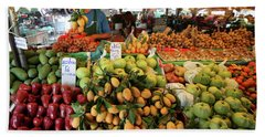 Tropical Fruits In Fruit Market Krabi Town Beach Towel