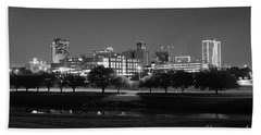Ft. Worth Texas Skyline Dusk Black And White Beach Towel