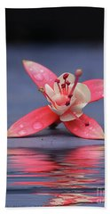Fuchsia And Reflection Beach Sheet by Kathy Russell