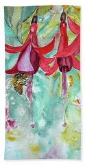 Beach Towel featuring the painting  Fuchsia by Jasna Dragun