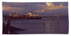 Fuel Dock, Port Townsend Beach Sheet by Laurie Stewart