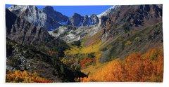 Full Autumn Display At Mcgee Creek Canyon In The Eastern Sierras Beach Sheet