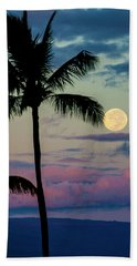 Full Moon And Palm Trees Beach Towel