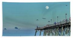 Full Moon At Kure Beach Pier Beach Towel