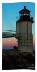 Full Moon At Marshall Point Lighthouse Beach Towel