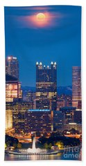 Beach Towel featuring the photograph Full Moon At  Pittsburgh  by Emmanuel Panagiotakis