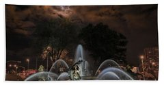 Full Moon At The Fountain Beach Towel