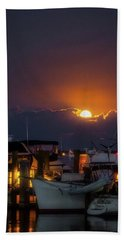 Beach Towel featuring the photograph Full Moon At Titusville by Norman Peay
