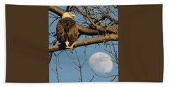 Full Moon Eagle  Beach Towel