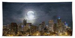 Full Moon Over Denver Beach Towel