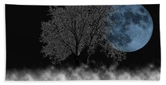 Full Moon Over Iced Tree Beach Towel