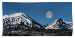 Full Moon Over Silverthorne Mountain Beach Towel