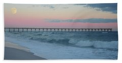 Full Moon Over The Pier Beach Towel