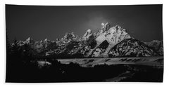Beach Towel featuring the photograph Full Moon Sets In The Tetons by Raymond Salani III