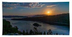 Full Moon Rising On Emerald Bay Beach Towel