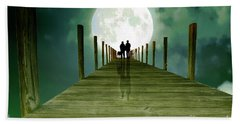 Full Moon Silhouette Beach Towel
