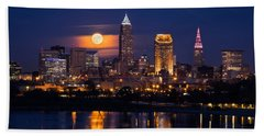 Full Moonrise Over Cleveland Beach Towel