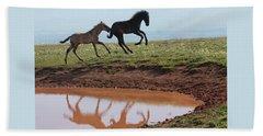 Fun In The Rockies- Wild Horse Foals Beach Sheet