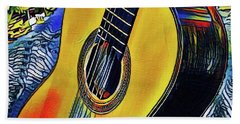 Funky Guitar Beach Sheet by The Art of Alice Terrill