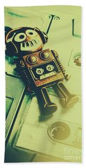 Funky Mixtape Robot Beach Towel by Jorgo Photography - Wall Art Gallery