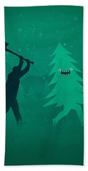 Funny Cartoon Christmas Tree Is Chased By Lumberjack Run Forrest Run Beach Towel