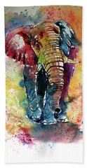 Beach Sheet featuring the painting Funny Elephant by Kovacs Anna Brigitta