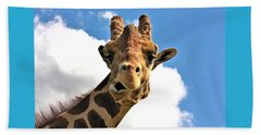 Funny Face Giraffe Beach Towel