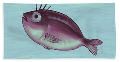 Funny Fish With Fancy Eyelashes Beach Towel