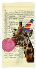 Funny Giraffe, Dictionary Art Beach Towel by Madame Memento