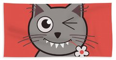 Funny Winking Cartoon Kitty Cat Beach Sheet