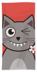 Funny Winking Cartoon Kitty Cat Beach Towel