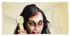 Funny Zombie Employee With Dead Phone Line Beach Towel