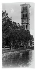 Furman University Bell Tower Greenville South Carolina Black And White Beach Towel