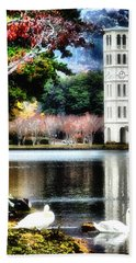 Furman University Bell Tower Beach Towel by Lynne Jenkins