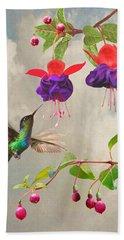 Fuchsia And Hummingbird Beach Sheet
