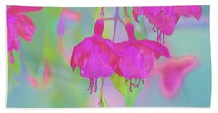 Fuchsia Flower Abstract Beach Towel