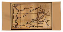 Gadsden Purchase 1850s New Mexico Map Beach Towel
