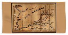 Gadsden Purchase 1850s New Mexico Map Beach Sheet