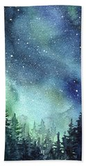 Galaxy Watercolor Aurora Painting Beach Towel