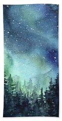 Galaxy Watercolor Aurora Painting Beach Towel