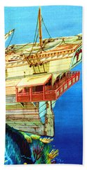 Galleon On The Reef 2 Filtered Beach Towel