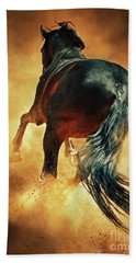 Galloping Horse In Fire Dust Beach Sheet