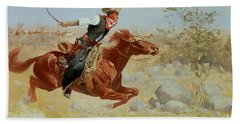 Galloping Horseman Beach Towel by Frederic Remington